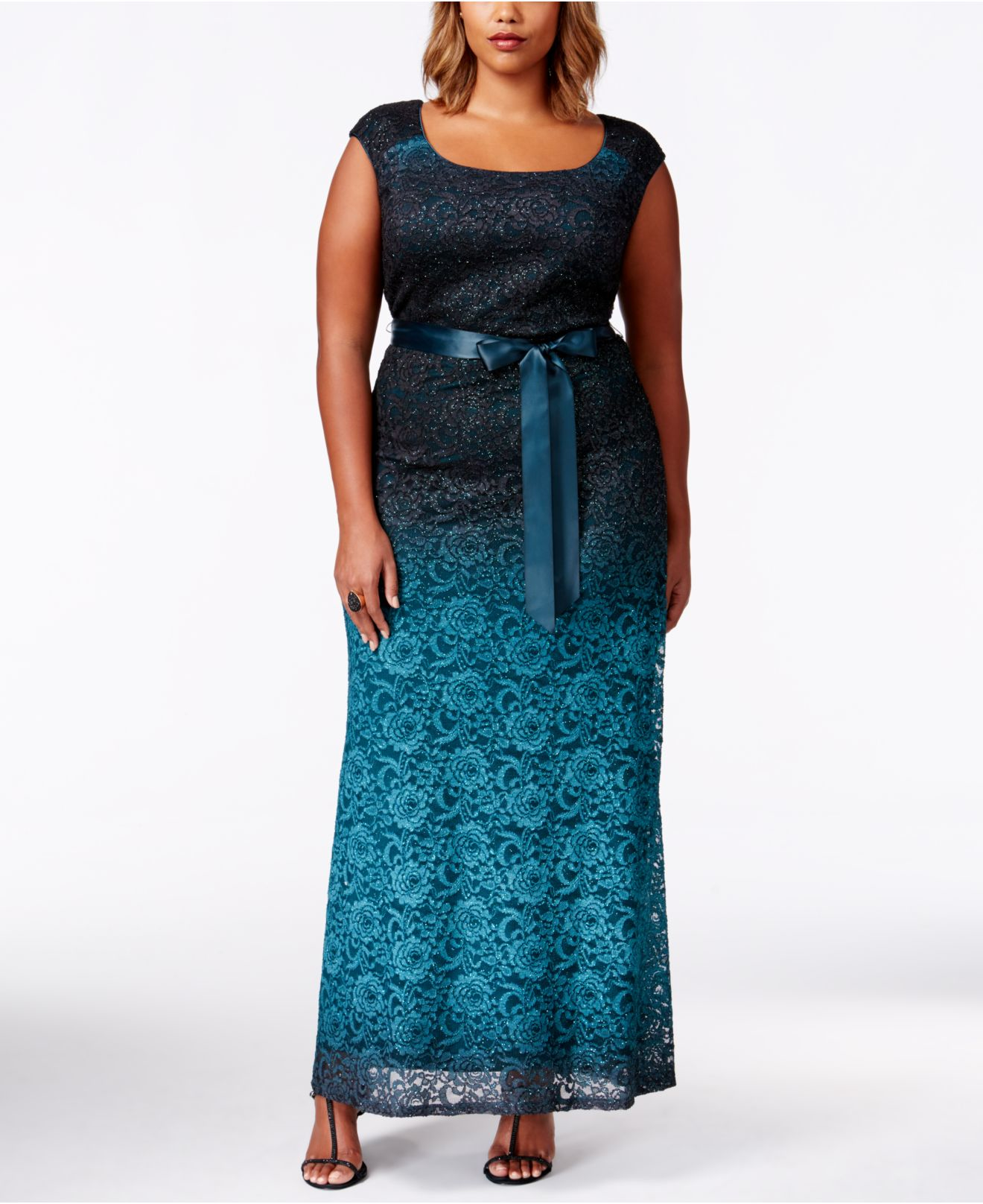 Lyst - R & M Richards Plus Size Sleevless Ombre-lace Evening Gown in ...