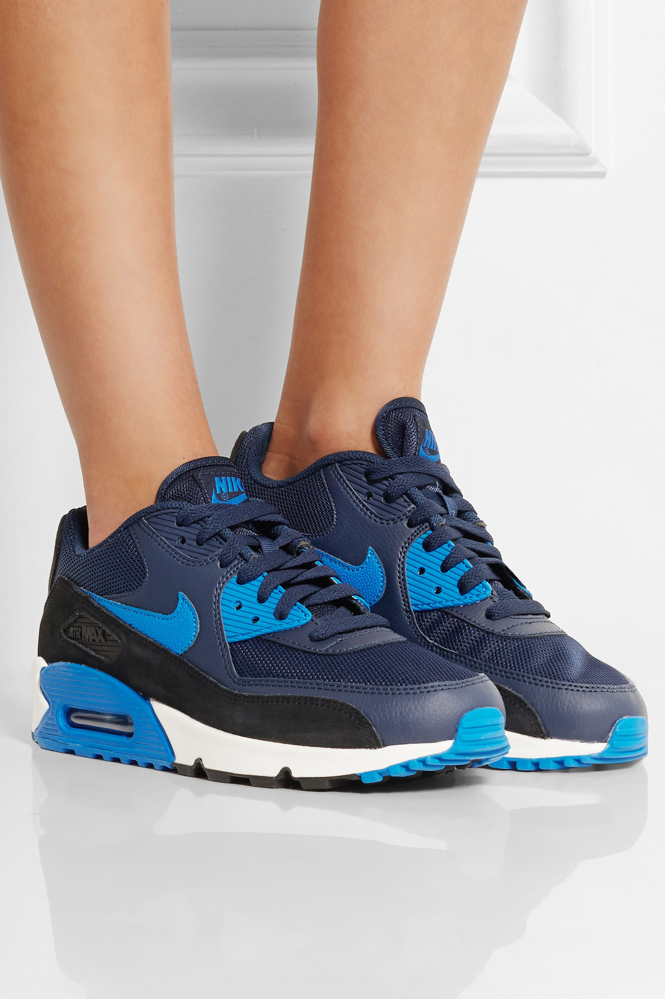 lyst nike air max 90 essential leather mesh rubber and suede