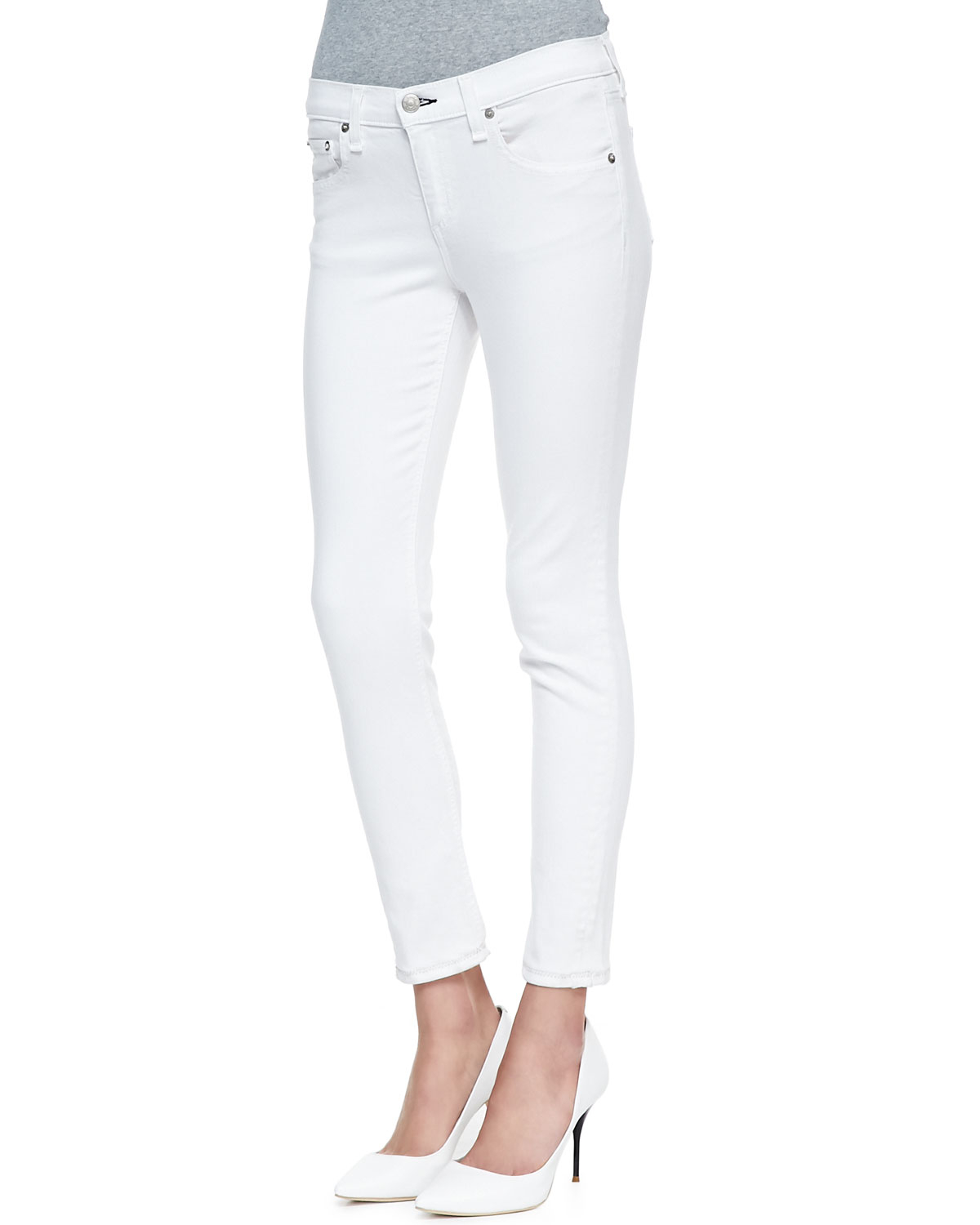 Rag & bone Repair Denim Capri Pants Bright White 24 in White | Lyst