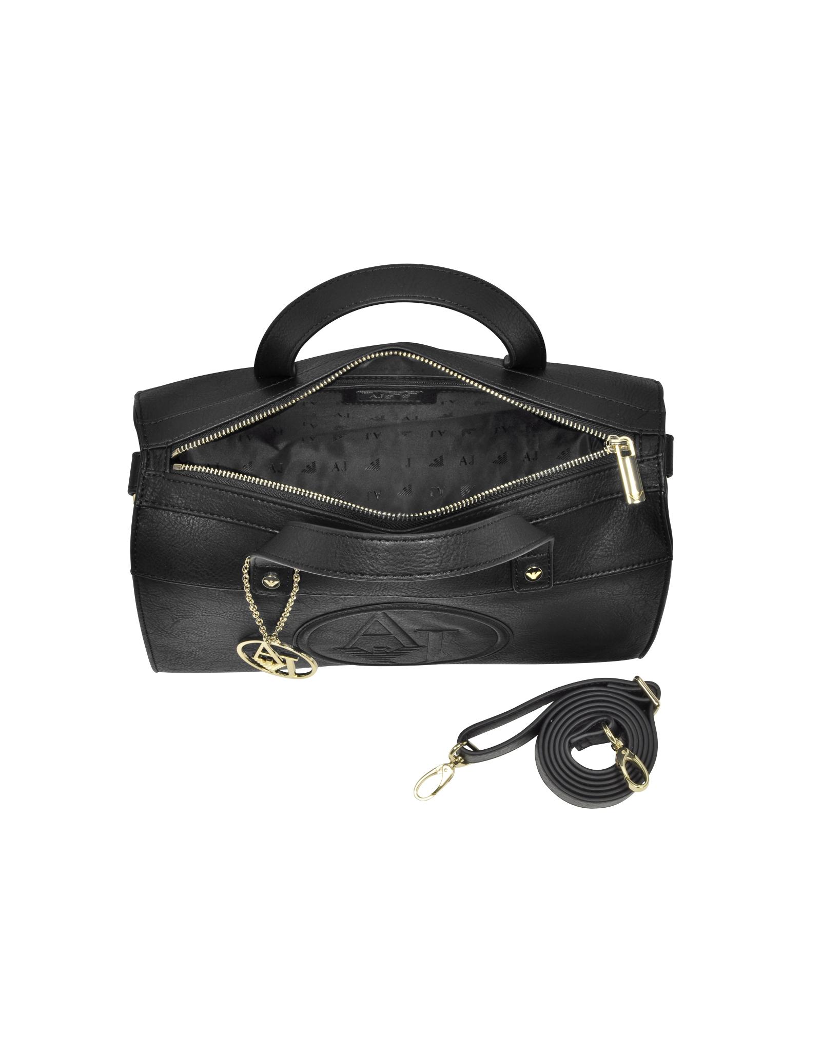 Lyst - Armani Jeans Black Eco Leather Bowling Bag in Black 4f69192b0e1ab