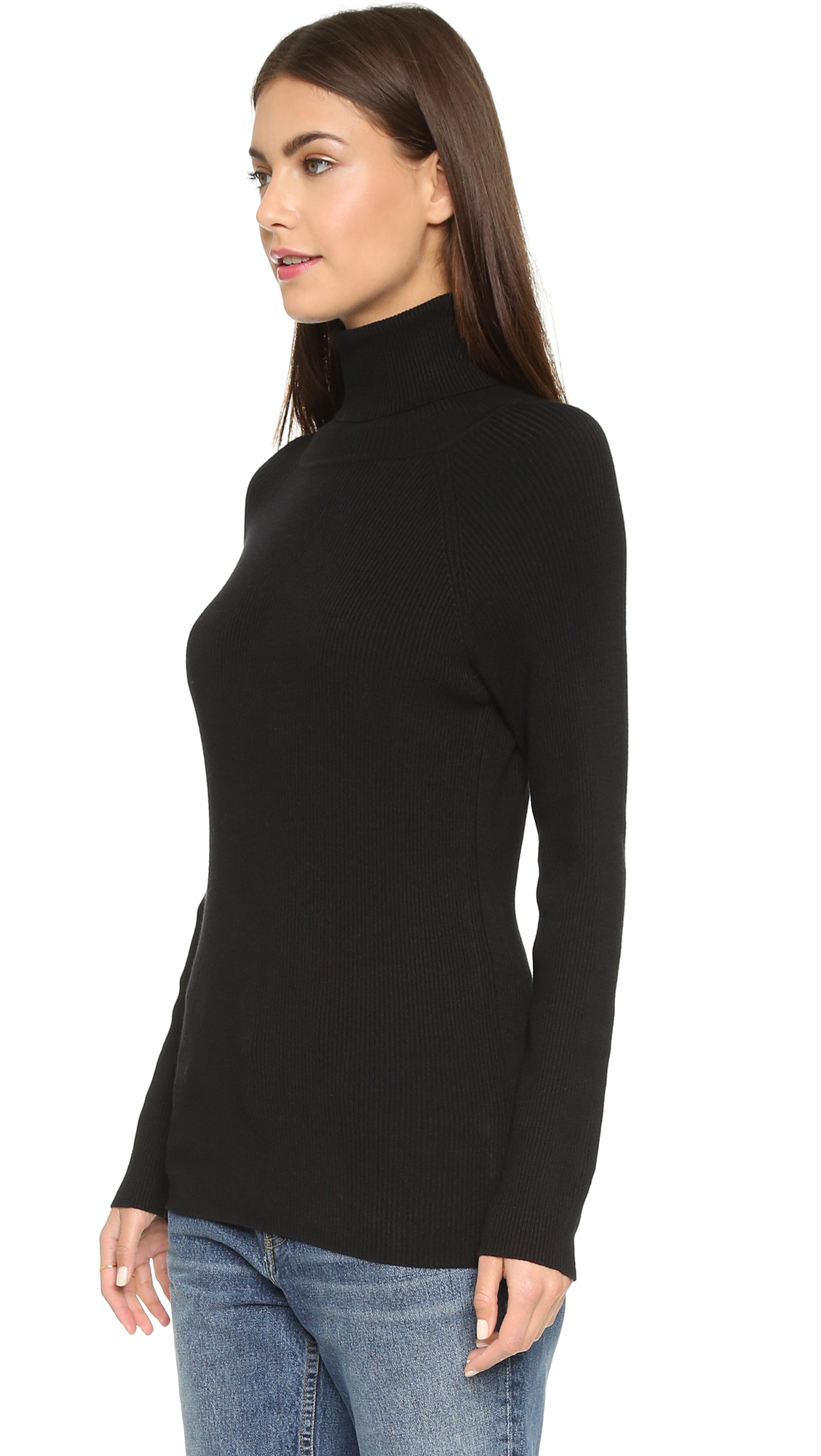 525 america Ribbed Turtleneck Sweater in Black | Lyst