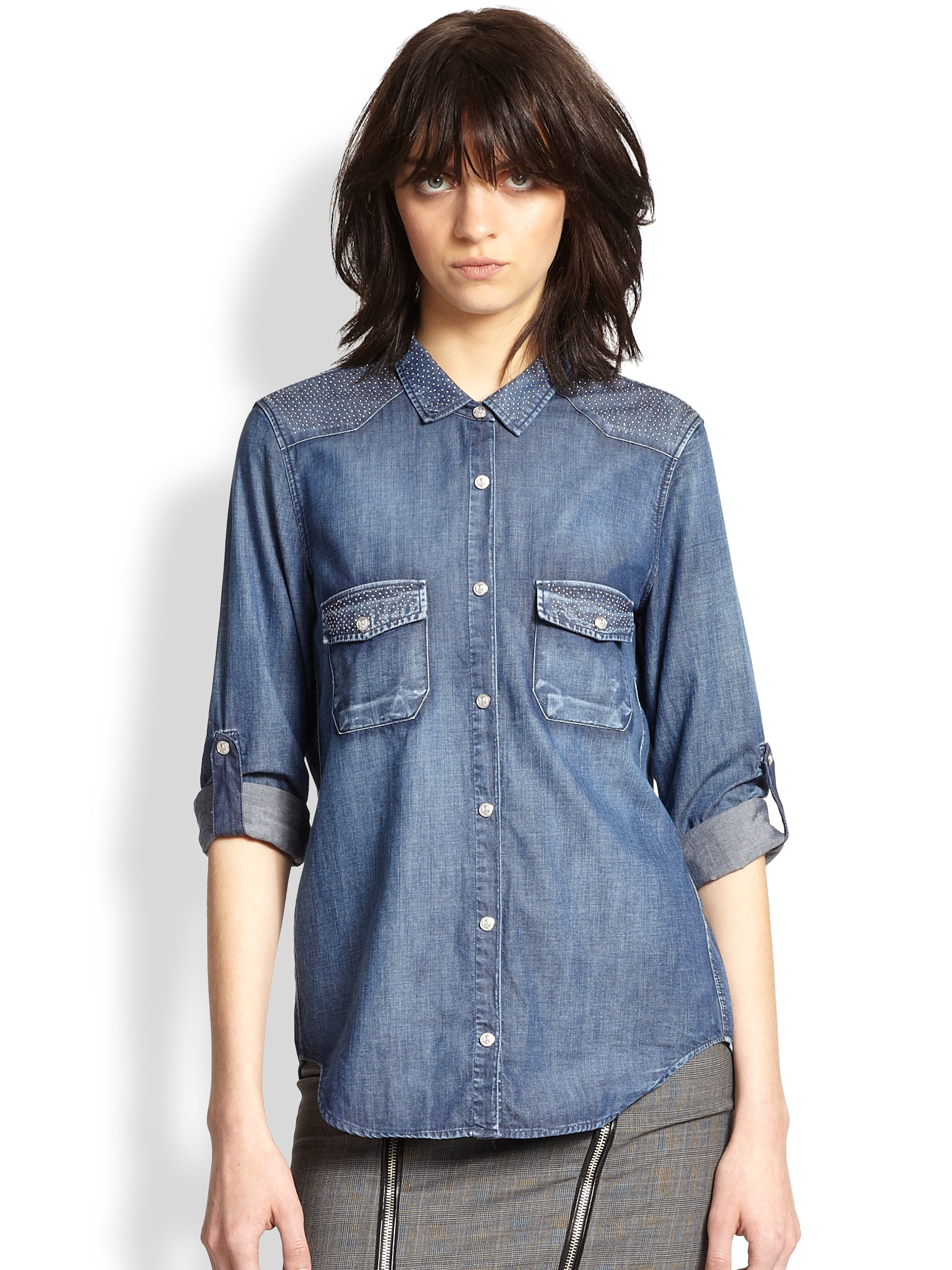 1de49285833 The Kooples Studded Denim Shirt in Blue - Lyst