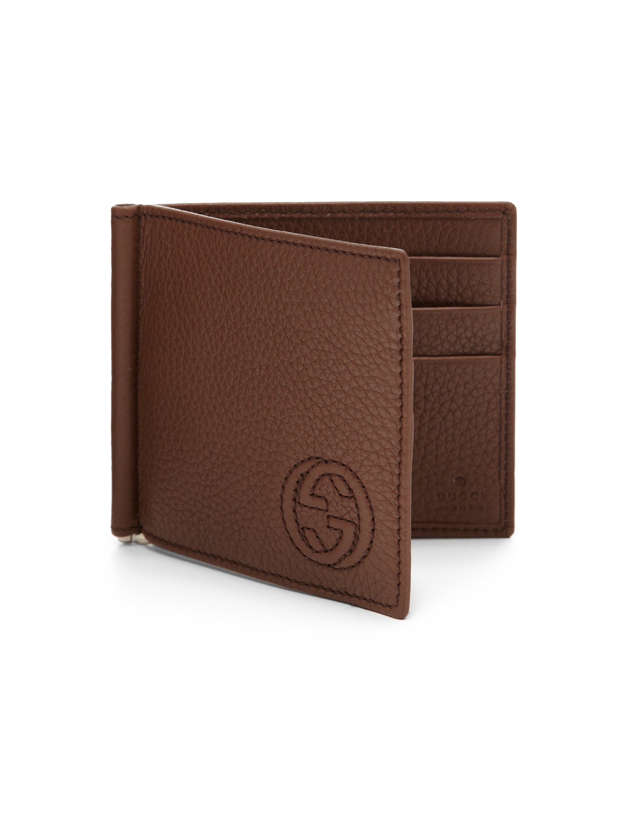 68299cc0ec3217 Gucci Soho Leather Money Clip Wallet in Brown for Men - Lyst