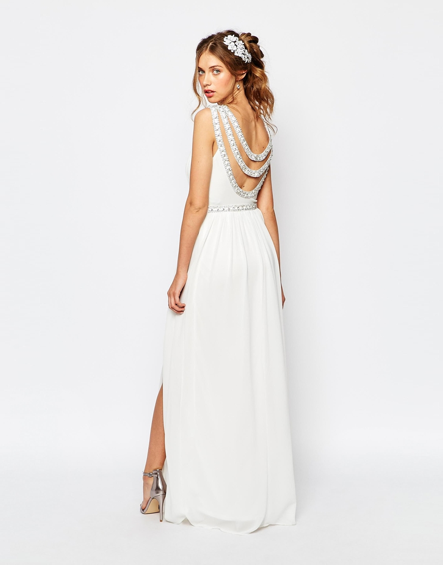 Tfnc London Bridal Maxi Dress With Embellishment In White