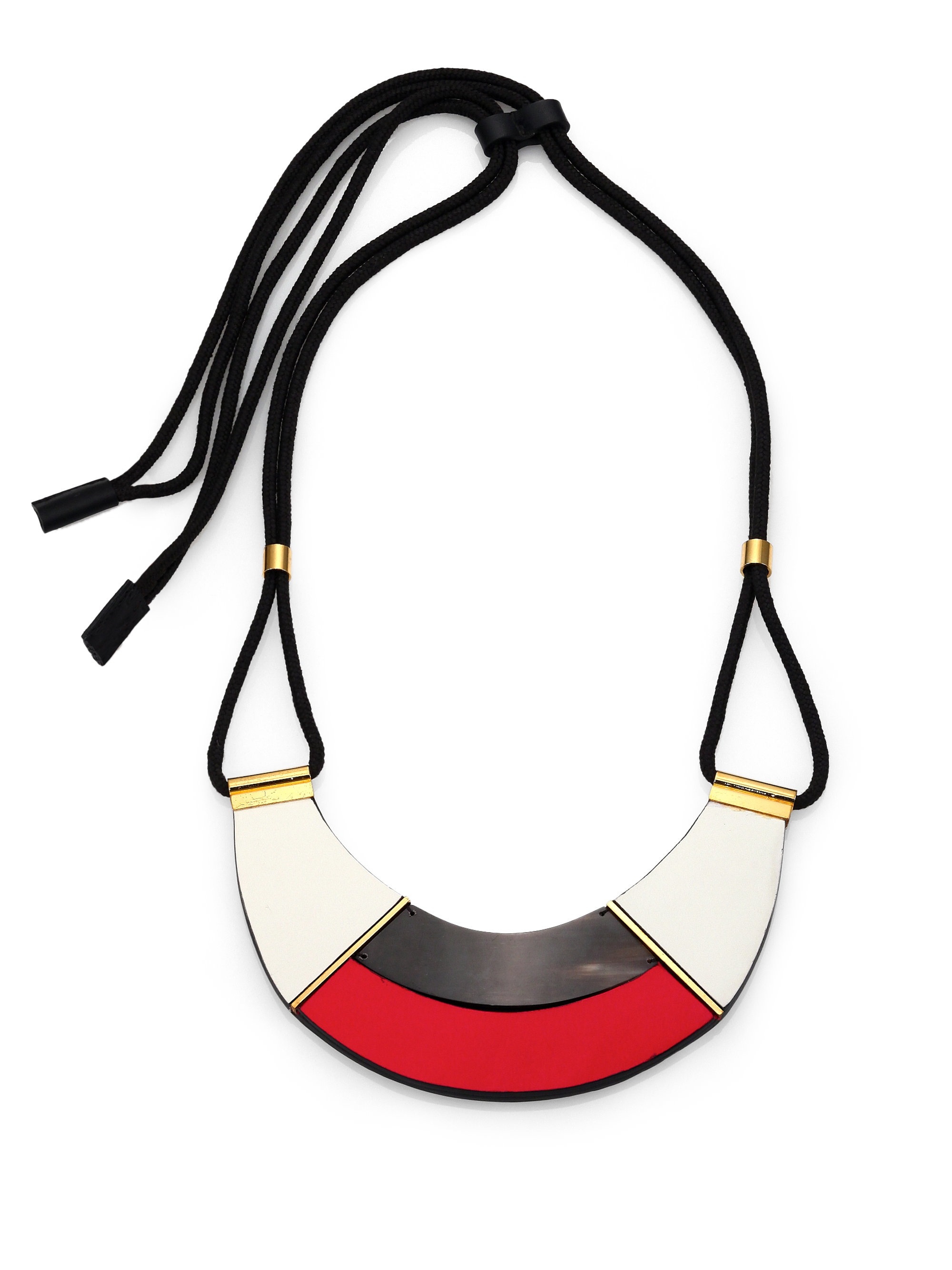 946932a09 Marni Colorblock Leather & Horn Bib Necklace in Red - Lyst