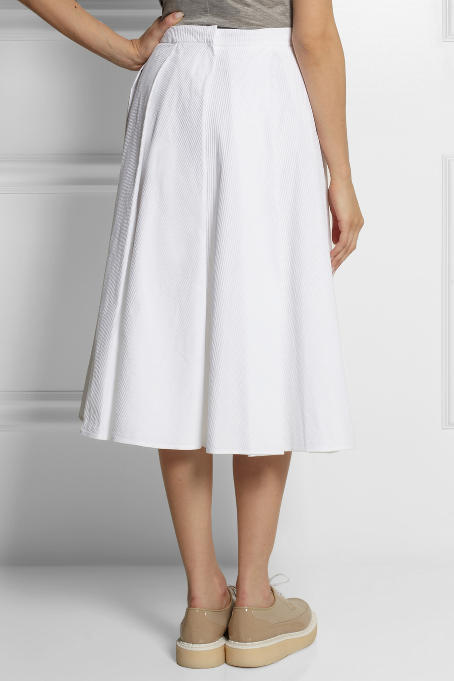 J.w.anderson Pleated Cotton-Jacquard Midi Skirt in White | Lyst