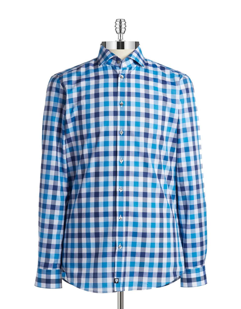 strellson slim fit plaid sportshirt in blue for men lyst. Black Bedroom Furniture Sets. Home Design Ideas