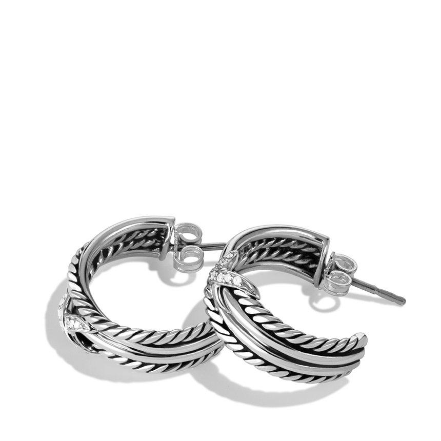 Lyst David Yurman X Crossover Hoop Earrings With Diamonds In Metallic