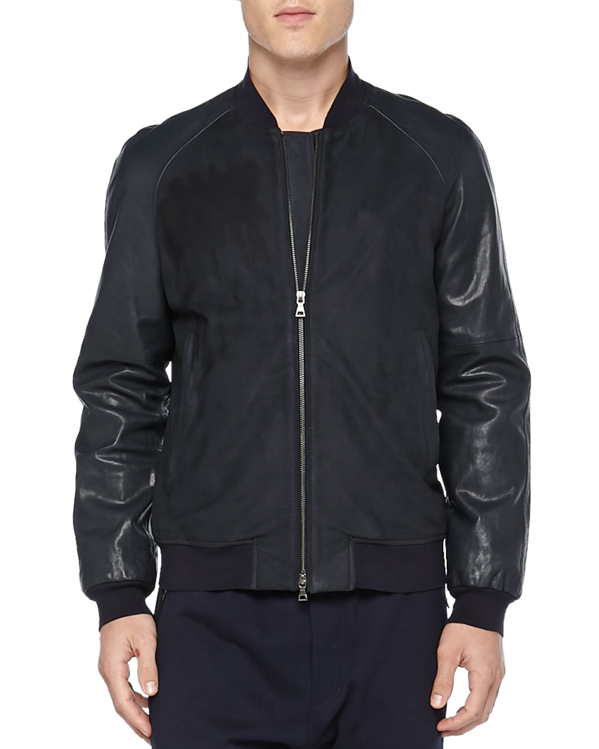 Vince Leather Baseball Jacket In Blue For Men (navy) | Lyst