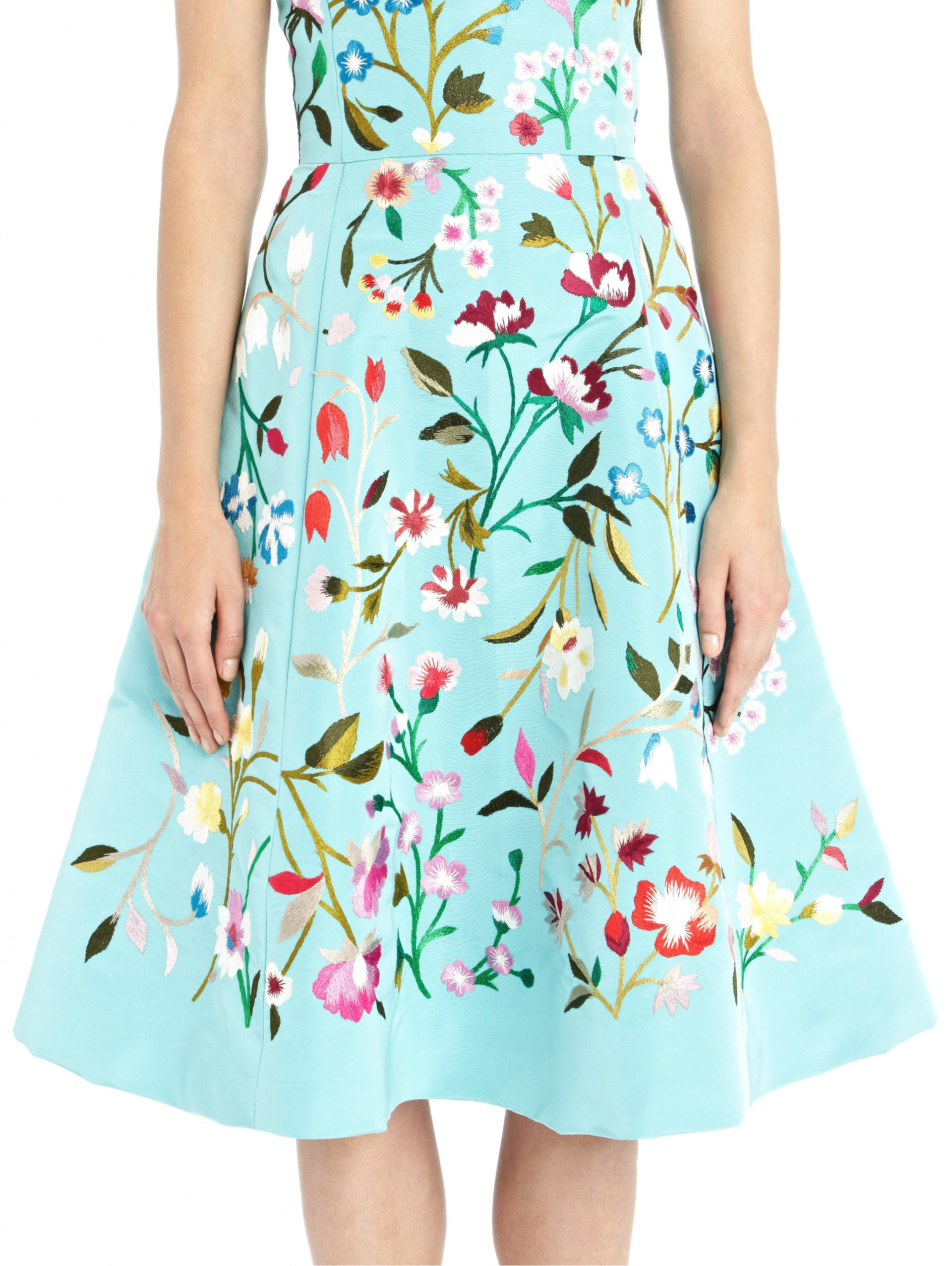 Oscar de la renta floral embroidered aquamarine silk