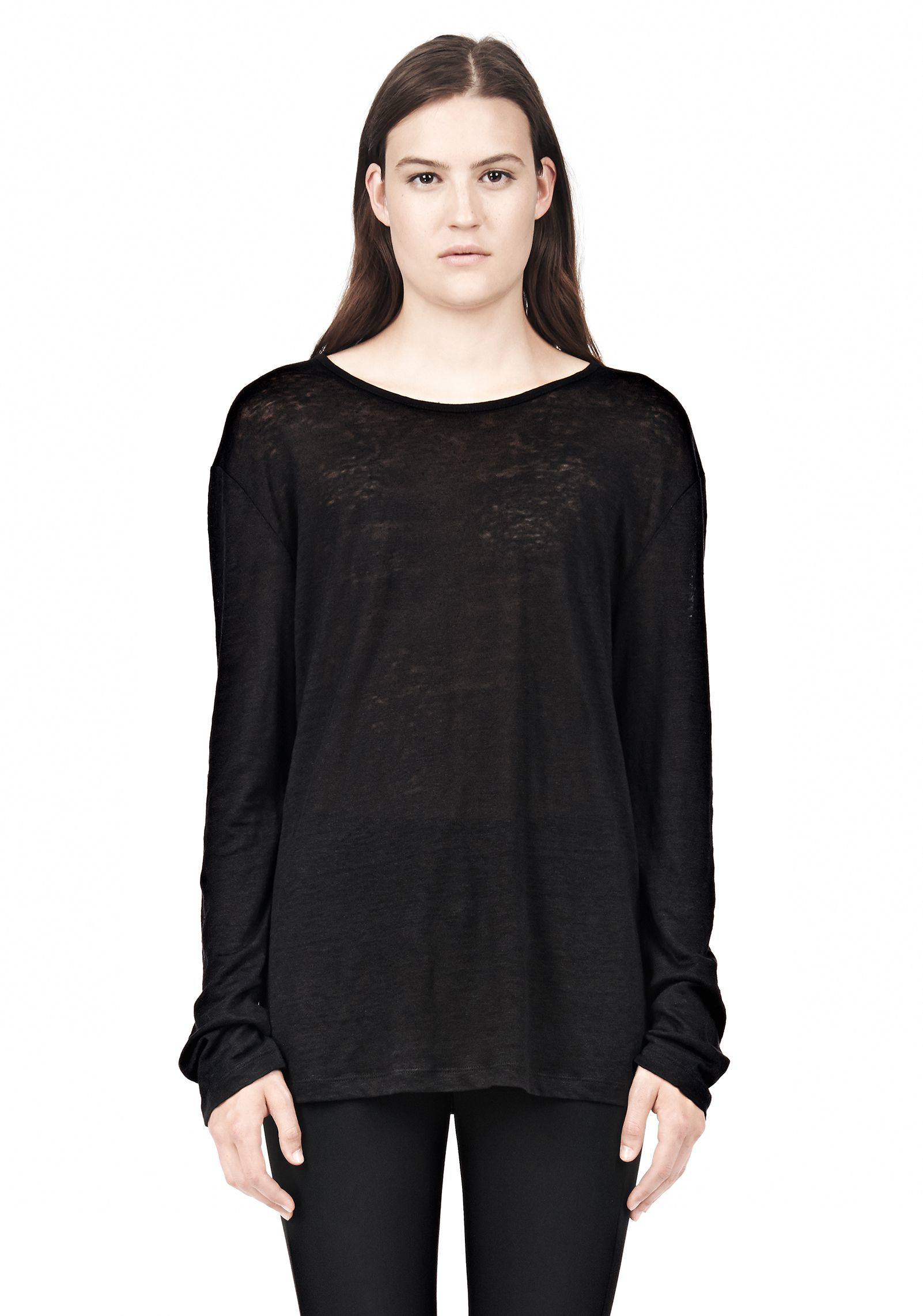 lyst t by alexander wang linen silk long sleeve tee in black. Black Bedroom Furniture Sets. Home Design Ideas