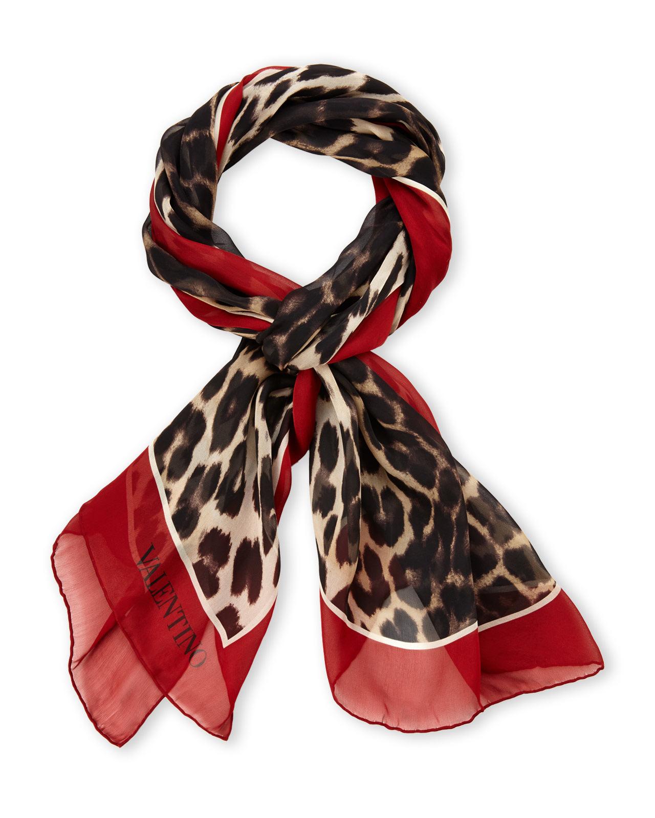 08c20aa22634 Lyst - Valentino Silk Leopard Print Scarf