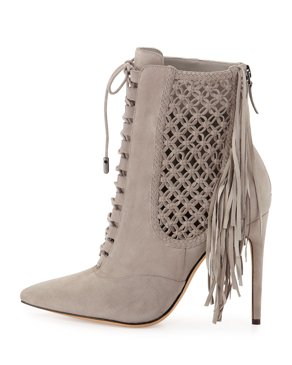 Alexandre birman Suede Fringe Lace-up Point-toe Ankle Bootie in ...