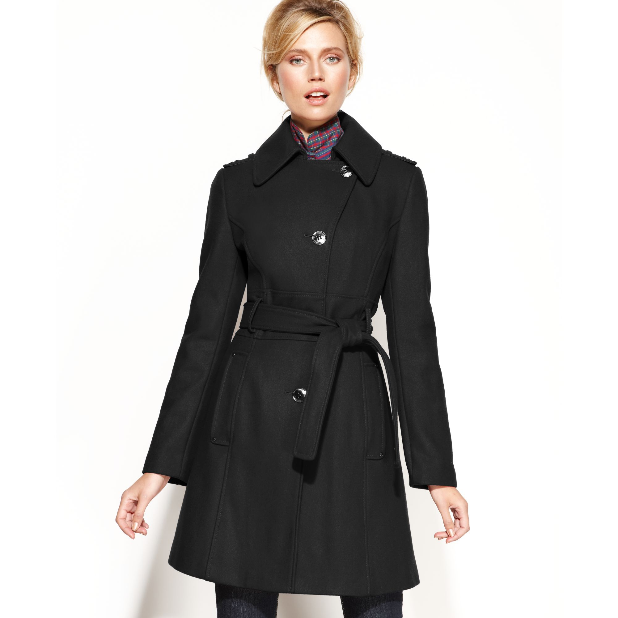 Kenneth Cole Reaction Wool Blend Belted Asymmetrical