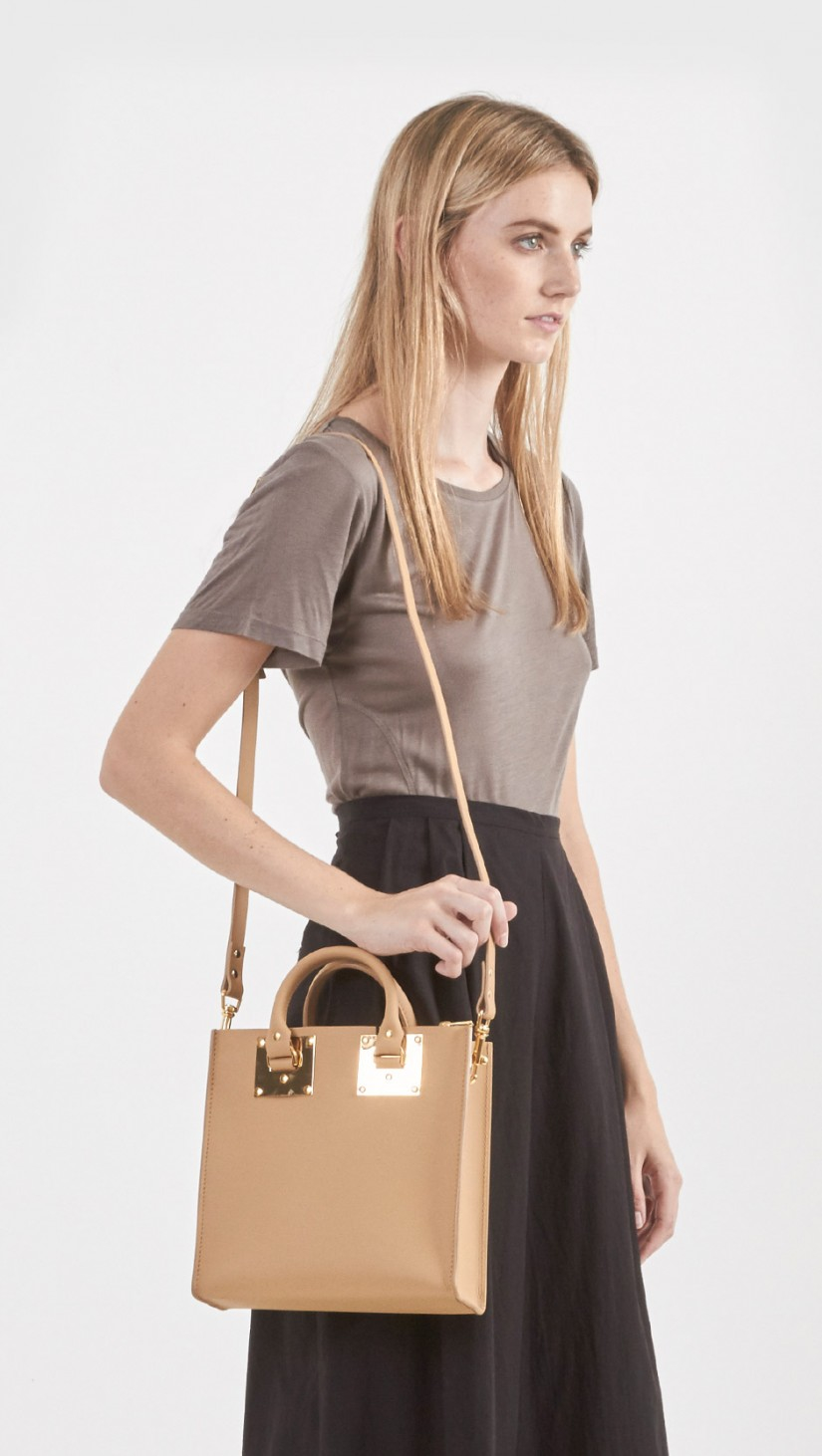 Lyst Sophie Hulme Square Tote In Natural