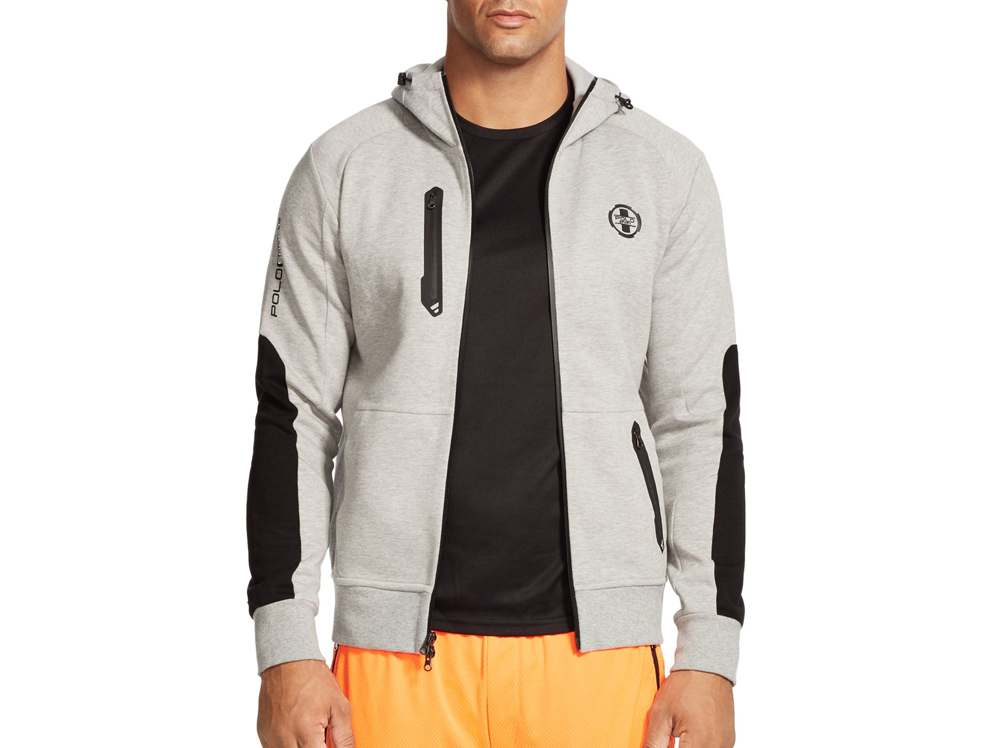 polo ralph lauren double knit full zip hoodie in gray for. Black Bedroom Furniture Sets. Home Design Ideas