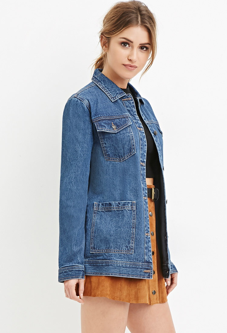 Lyst - Forever 21 Longline Denim Jacket Youu0026#39;ve Been Added To The Waitlist In Blue
