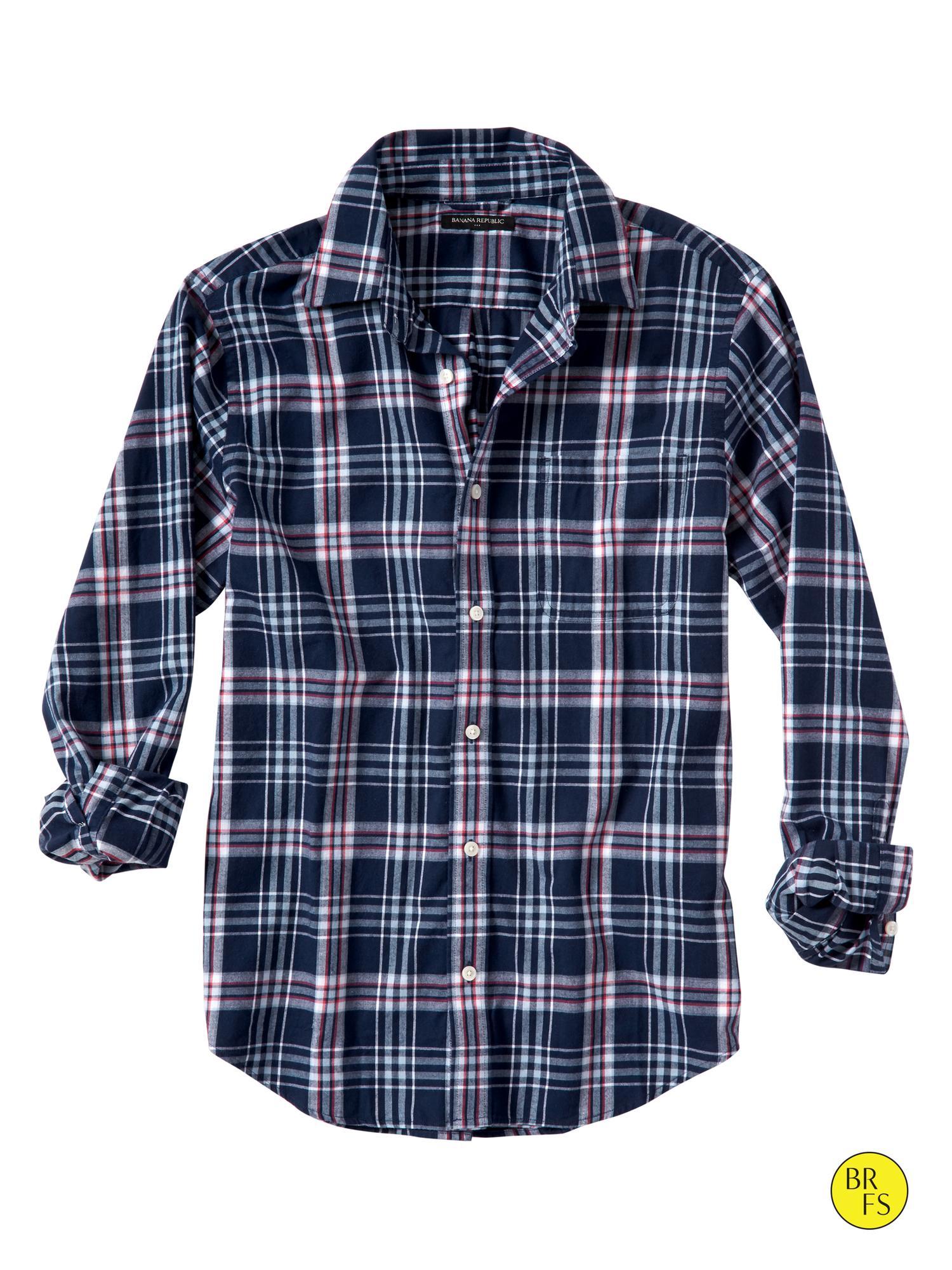 Banana Republic Factory Carson Plaid Flannel Shirt In Blue