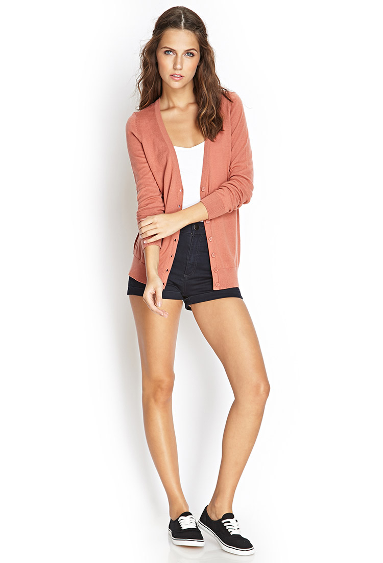 Forever 21 Classic Cardigan in Pink   Lyst