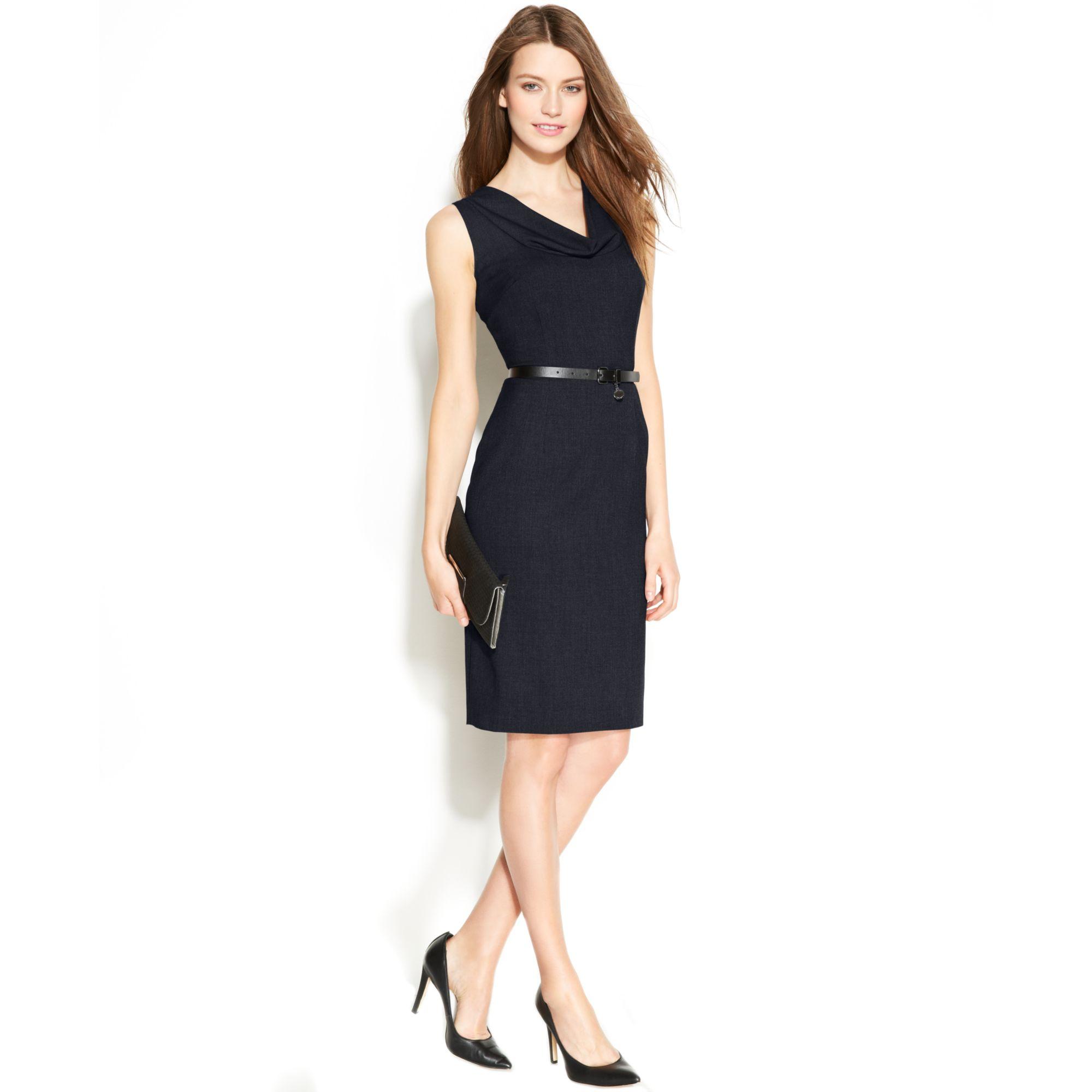 calvin klein sleeveless belted sheath dress in blue navy