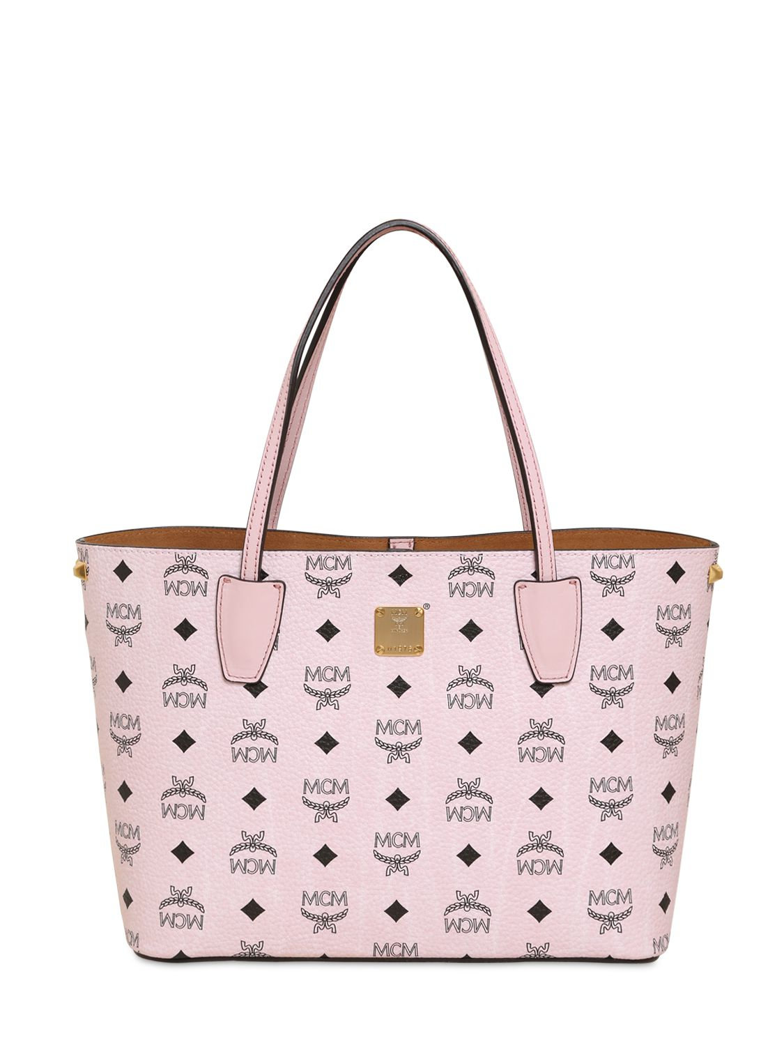 mcm small printed faux leather tote bag in pink lyst