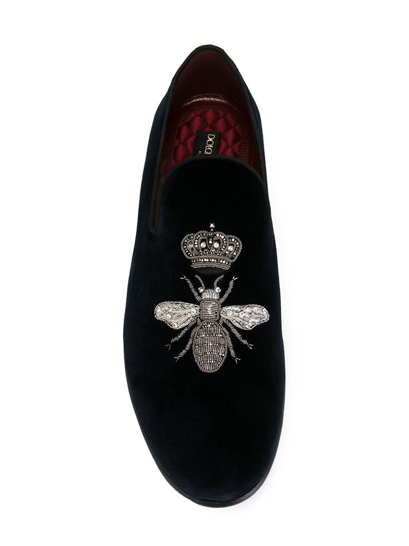 48bf0afda98 Lyst - Dolce   Gabbana Crown   Bee Slippers in Blue for Men