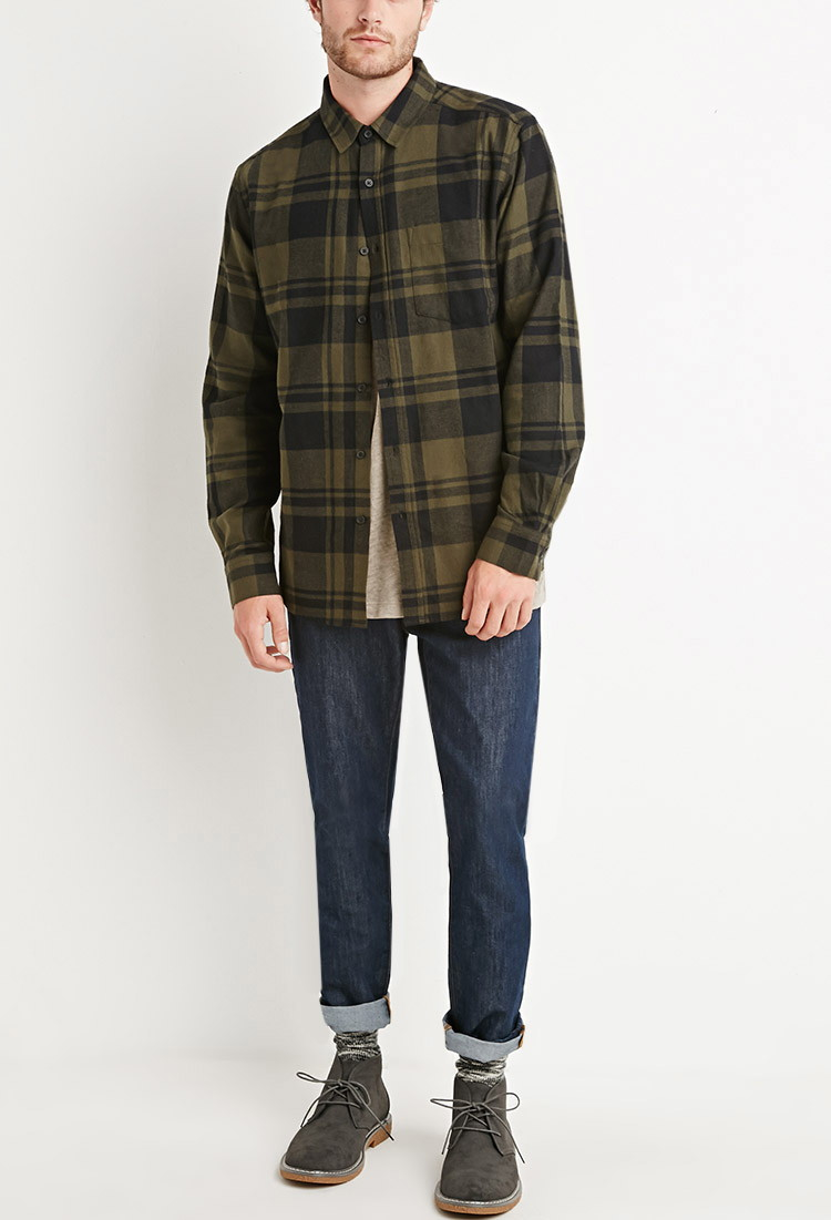 Forever 21 Tartan Plaid Flannel In Gray For Men Lyst