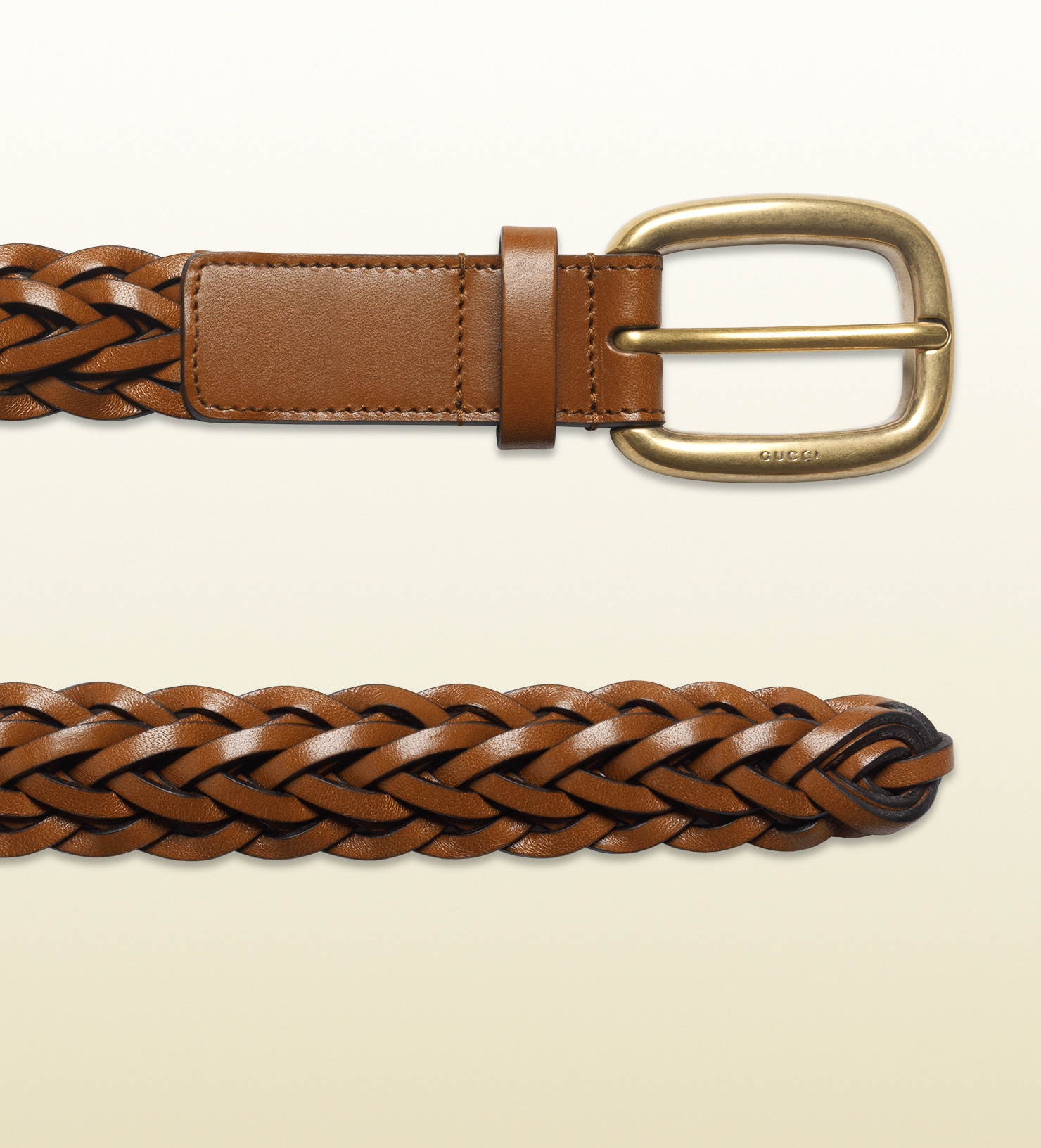 d60a7e82429 Lyst - Gucci Hand-braided Leather Belt in Brown