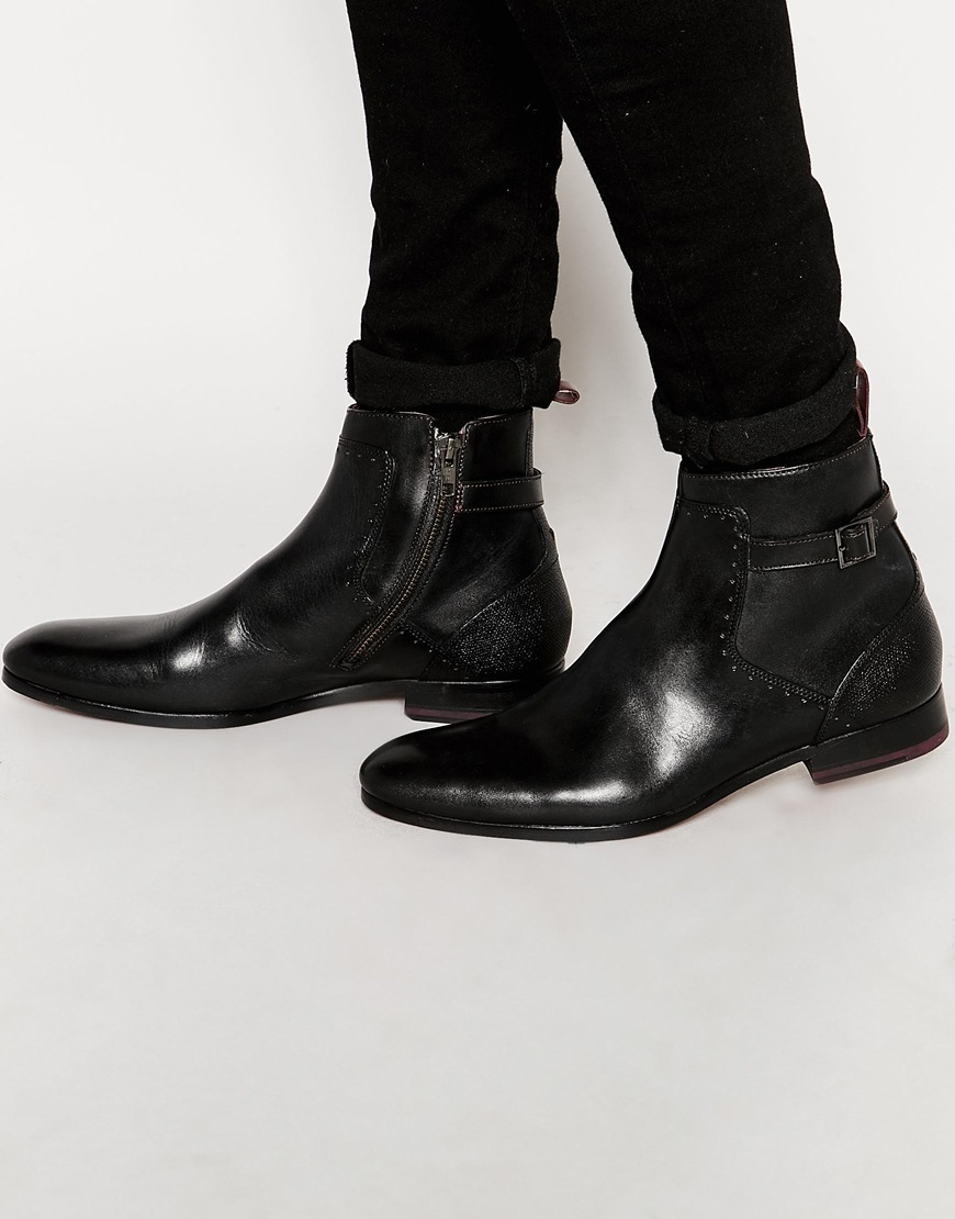 Lyst Ted Baker Nayfer Buckle Chelsea Boots In Black For Men