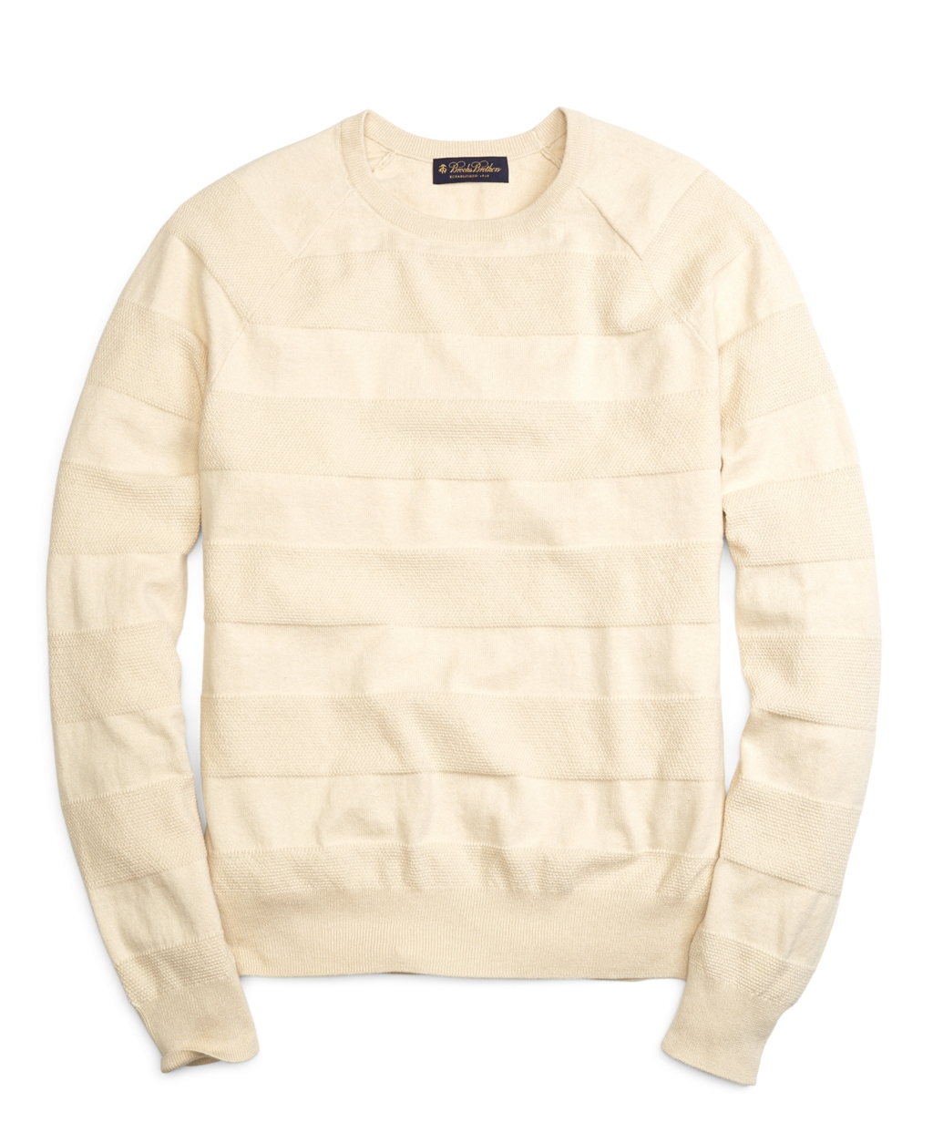3ccfe4bc5bb5 Lyst - Brooks Brothers Cotton Cashmere Crewneck Tonal Stripe Sweater ...