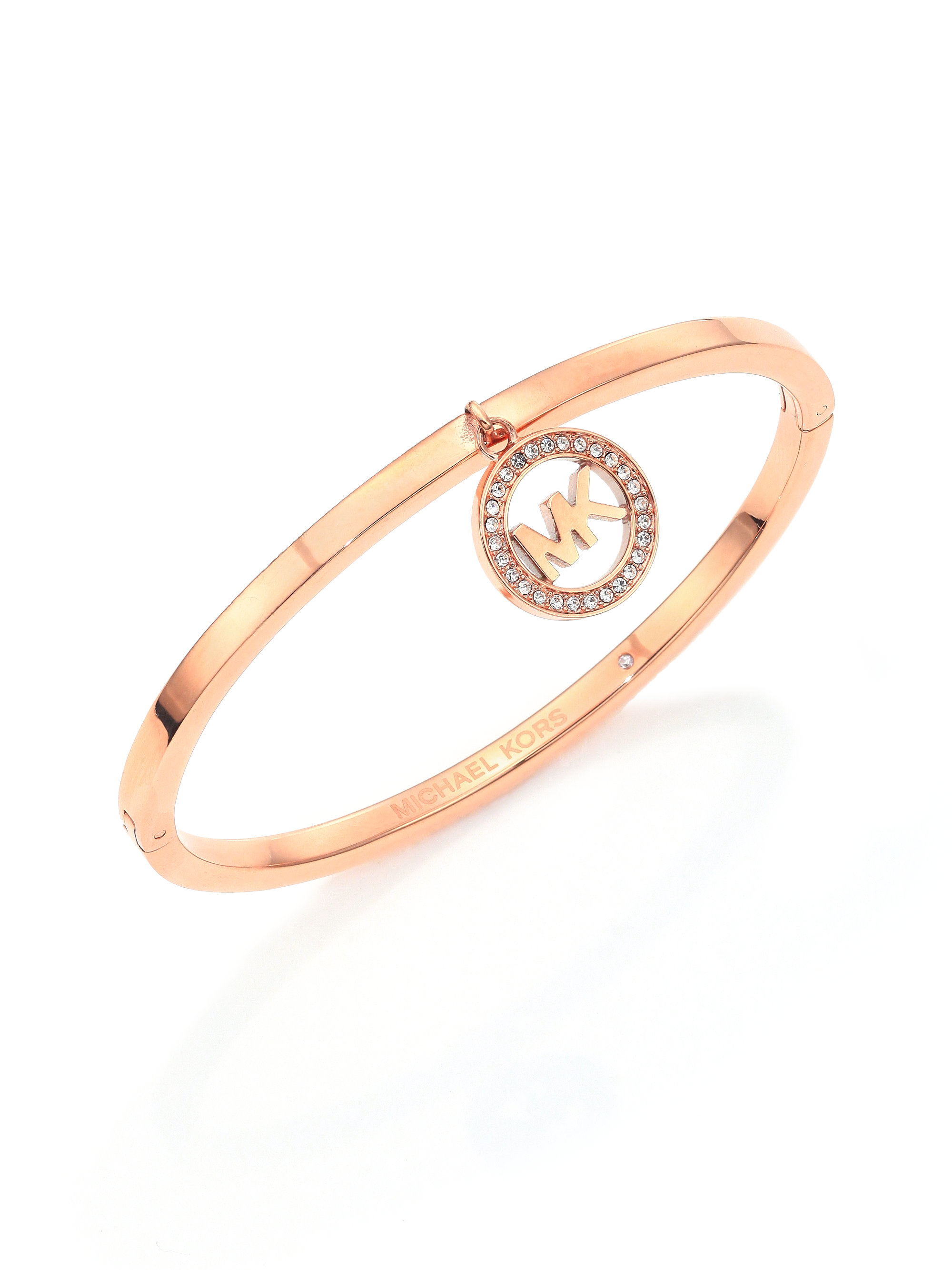 a36276a1b9ae Lyst - Michael Kors Fulton Logo Charm Bangle Bracelet rose Goldtone ...