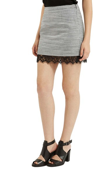 Topshop Lace Hem Boucle A-line Skirt in Gray | Lyst