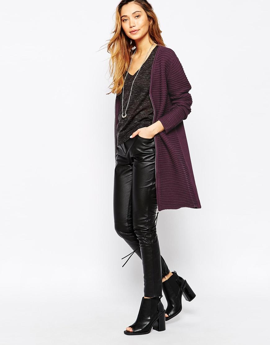 Minimum Ribbed Long Line Cardigan in Purple   Lyst