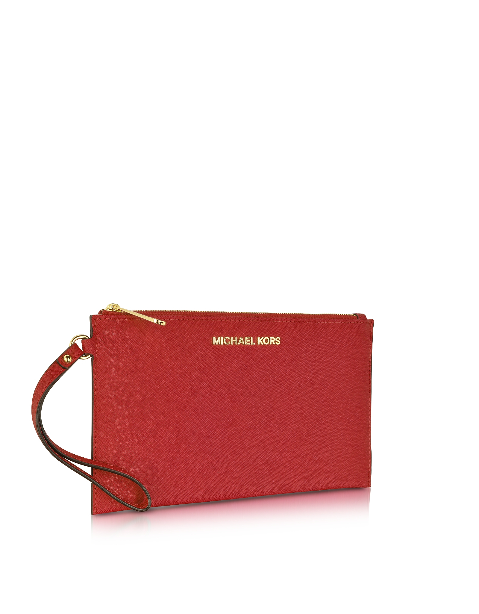 Michael kors Large Jet Set Travel Zip Clutch in Red | Lyst
