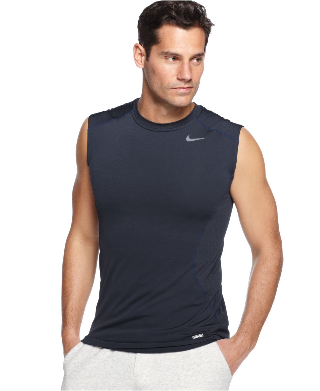 Lyst nike pro combat dri fit fitted sleeveless tee in for Nike men s pro cool sleeveless shirt