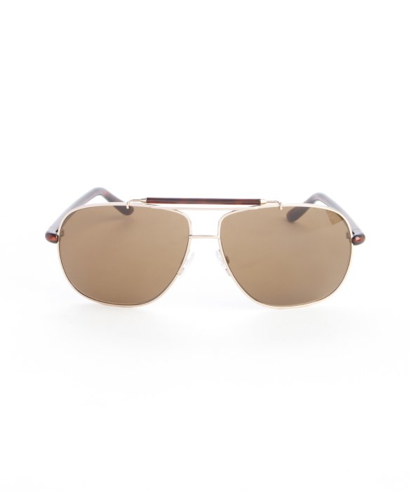 ac9ea8b6c899 Lyst - Tom Ford Brown Metal  Adrian  Aviator Sunglasses in Metallic ...