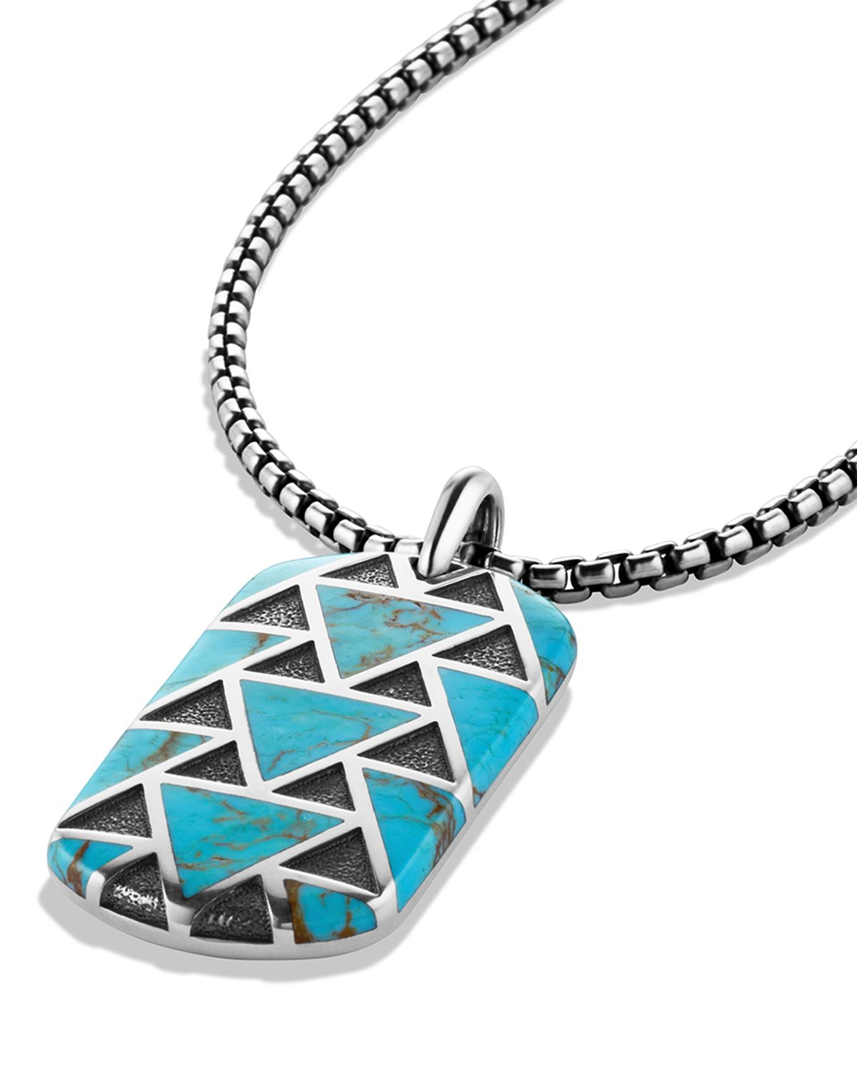 David Yurman Frontier Tag On Chain With Turquoise In
