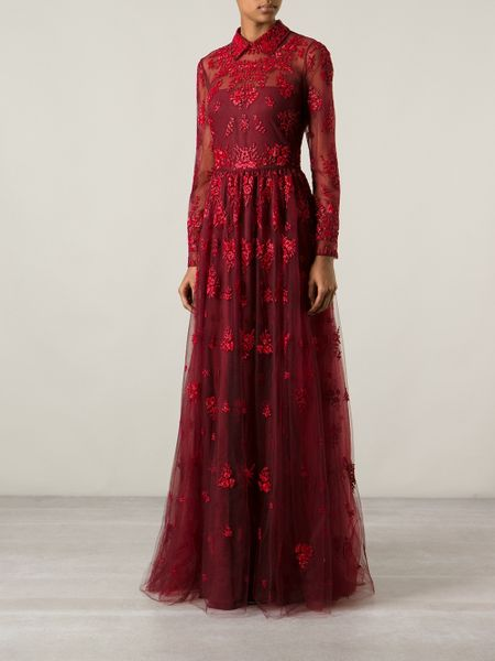 Valentino Beaded Evening Dress In Red Lyst