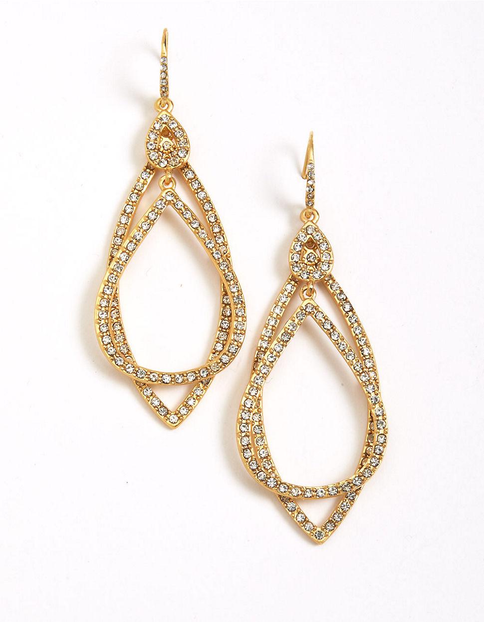 abs by allen schwartz pave orbital earrings in metallic lyst