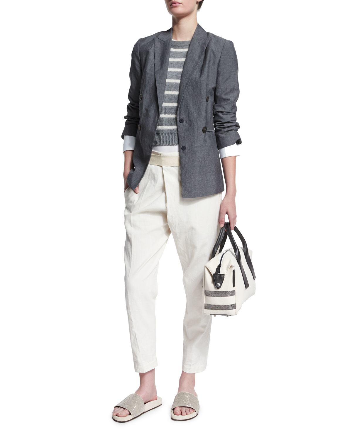 Brunello cucinelli Cropped Linen-blend Pants in Natural | Lyst