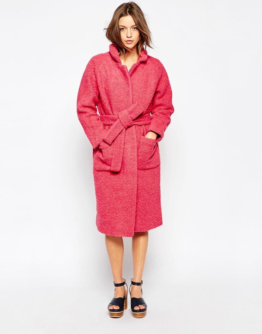 Ganni Long Wrap Coat With Tie Belt in Pink | Lyst