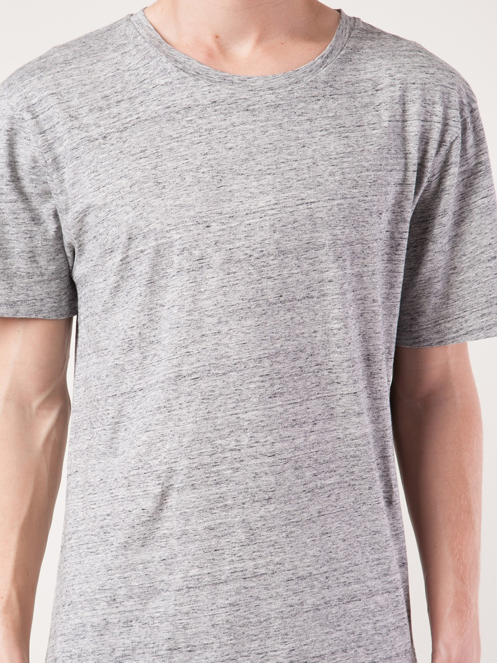 lyst maison kitsun uni slub knit tshirt in gray for men