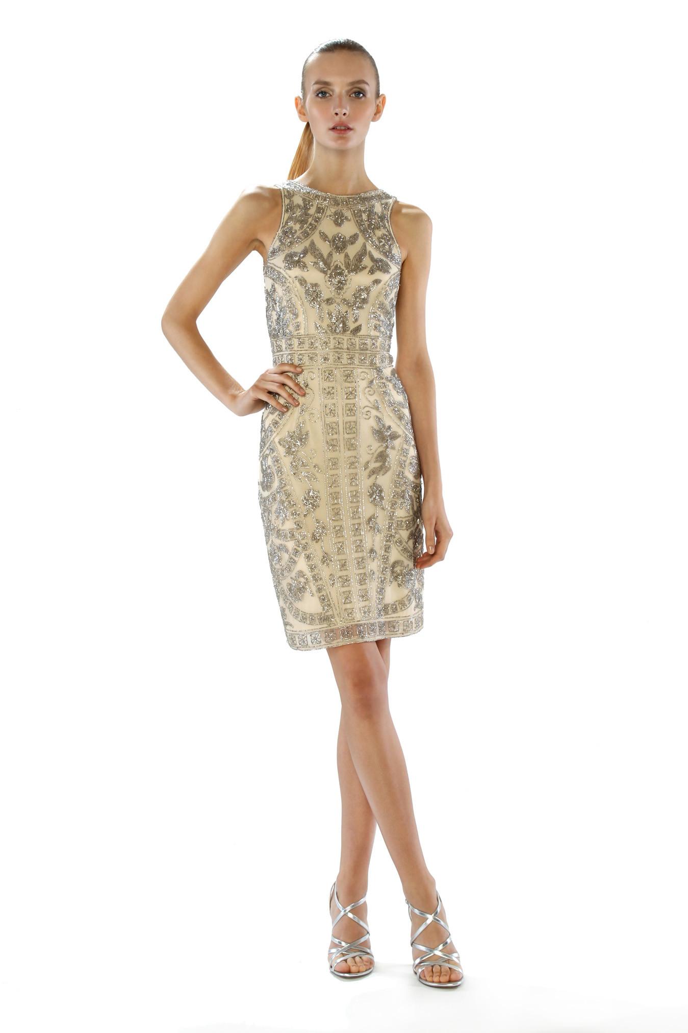 Lyst - Theia Beaded Jewel Neck Cocktail Dress in Metallic