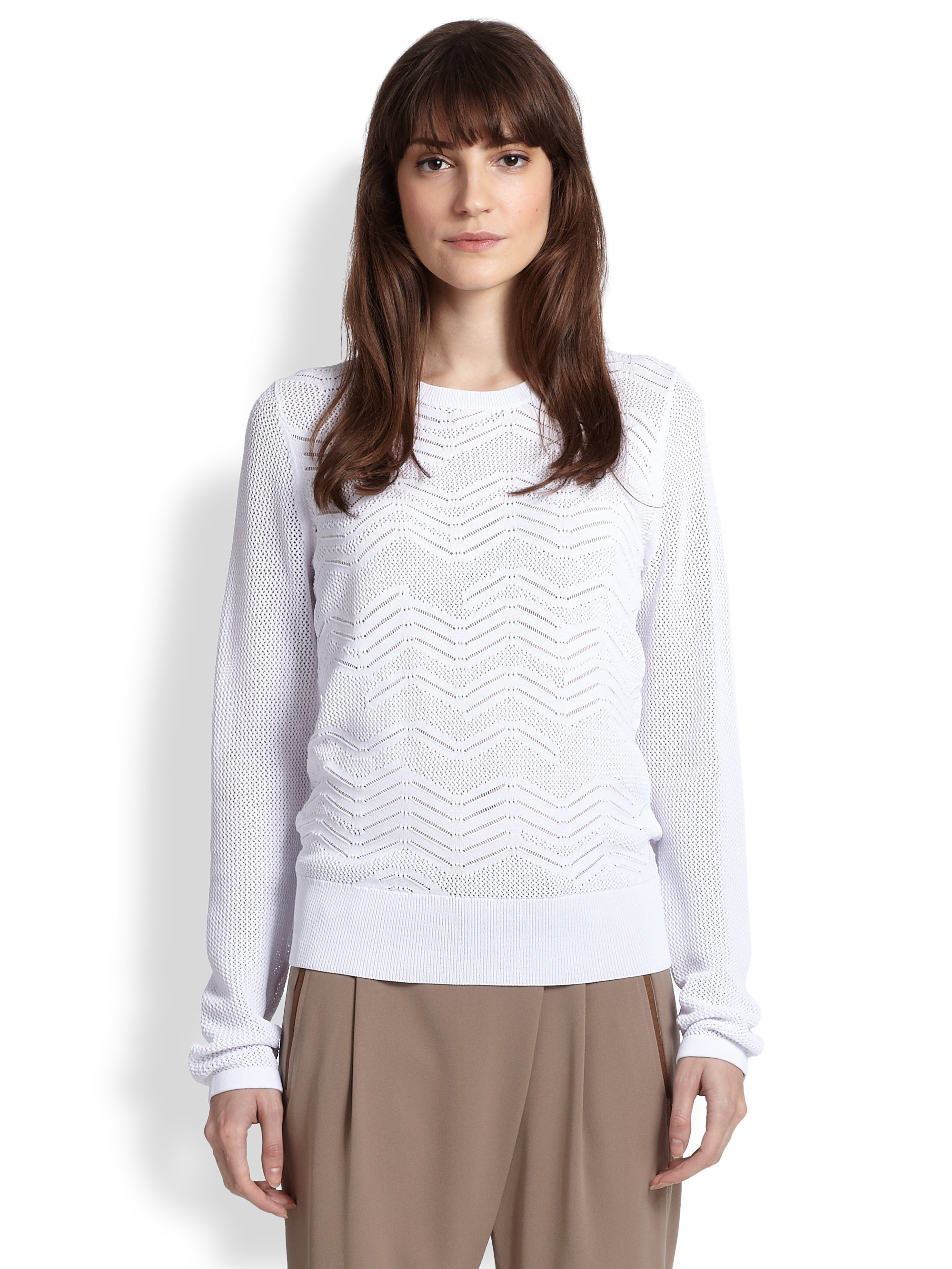 Knit Sweater With Zig Zag Pattern : Vince zigzag patterned cotton open knit sweater in white