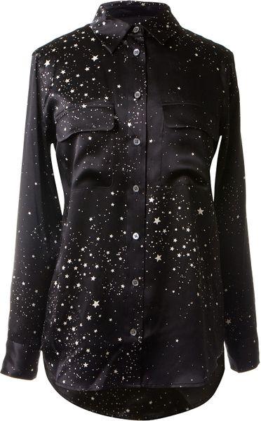 Equipment stars and moons patterns signature silk shirt in for Equipment black silk shirt