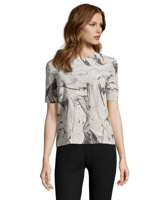 Theory Dove Geode Print Silk 'arane' Short Sleeve Blouse in Gray ...