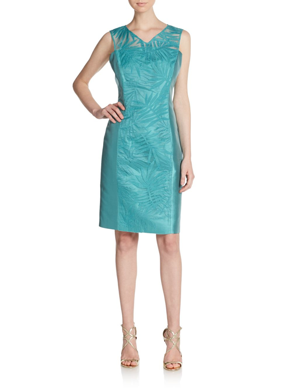 Lyst - Lafayette 148 New York Silk-panel Camille Dress in Blue