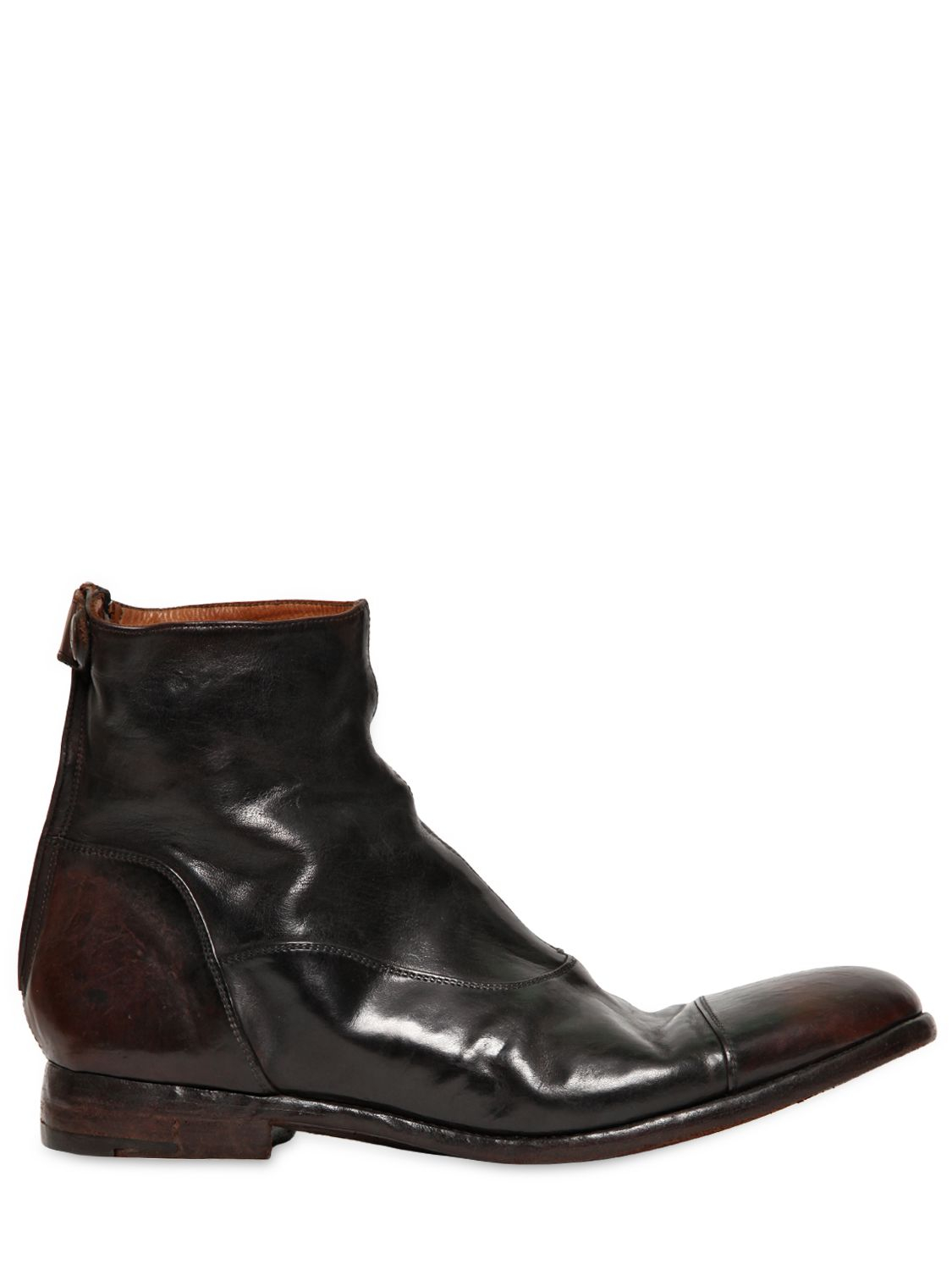 alberto fasciani vintage leather low boots in black