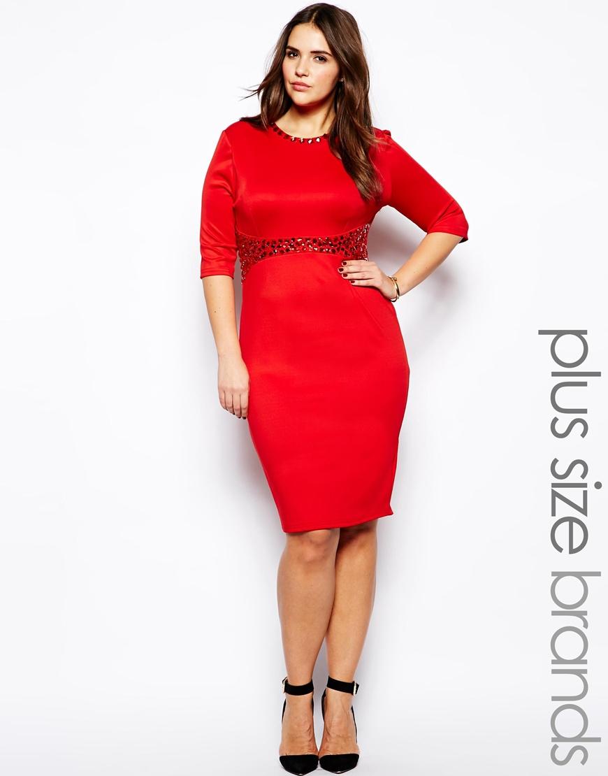 Ax paris Plus Size Embellished Waist Midi Dress in Red | Lyst