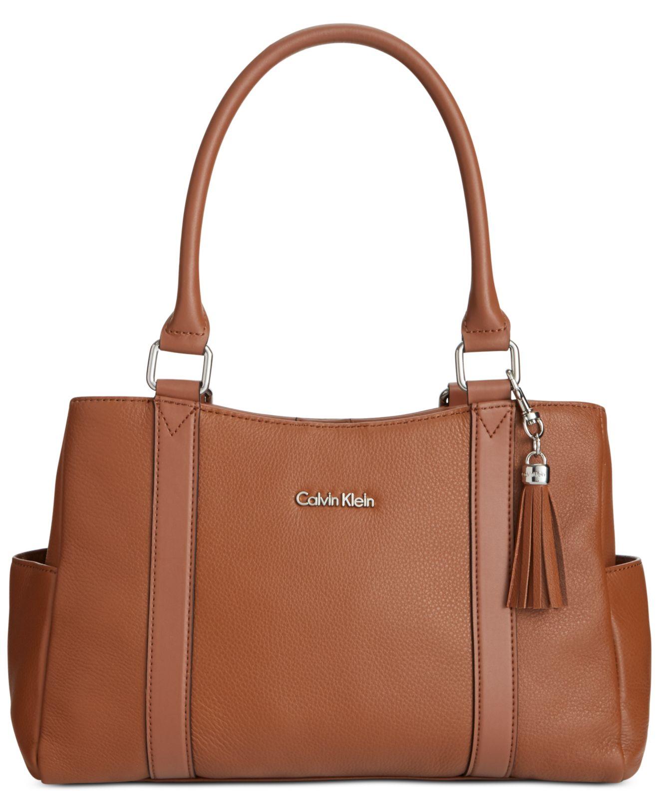 d4f7acc7dce Calvin Klein Modena Pebble Satchel in Brown - Lyst